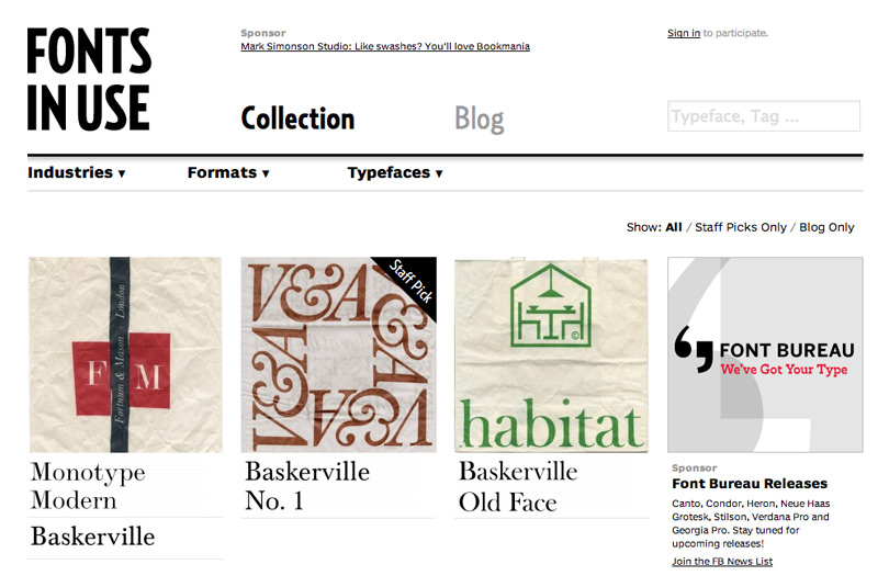 Il blog Fonts in Use