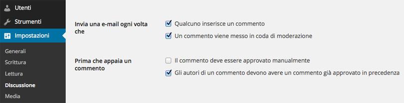 WordPress, commento approvato precedentemente