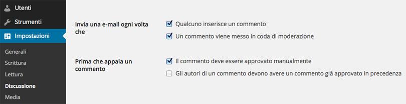 WordPress, ogni commento approvato manualmente