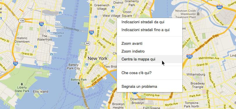 Centrare la mappa di Google in un punto preciso