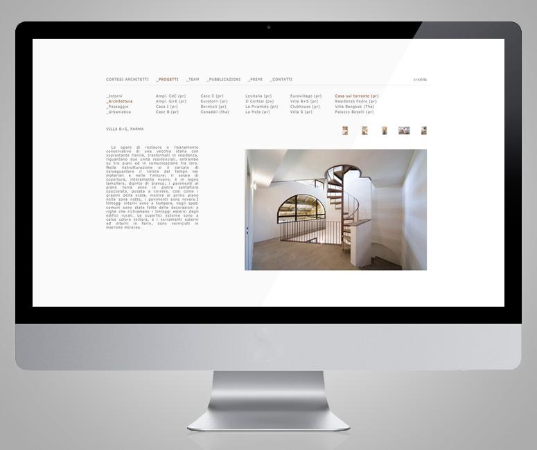Cortesi Architetti, progettazione sito internet