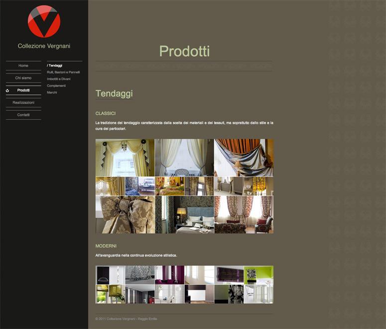 Collezione Vergnani, creazione layout