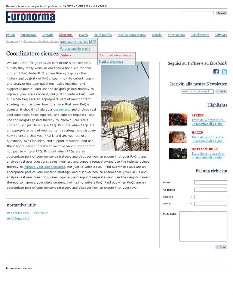 Euronorma, ideazione layout sito