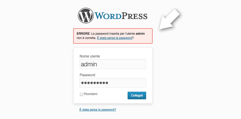 L'area di login di WordPress