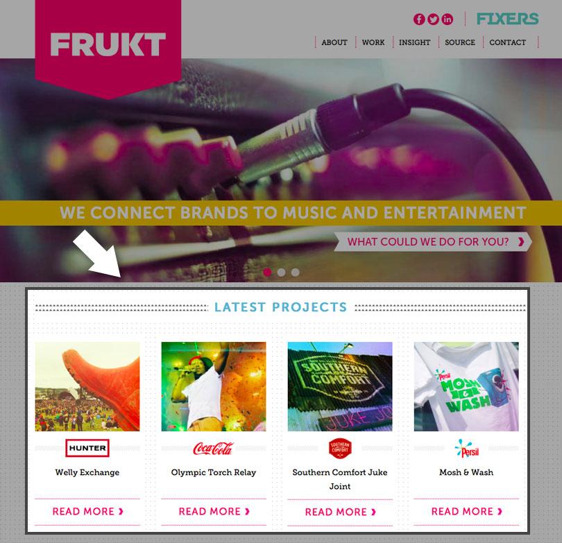 Immagni in evidenza nella homepage del sito Frukt