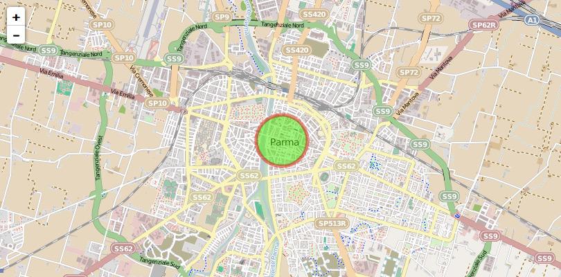 Mappa Leaflet con cerchio