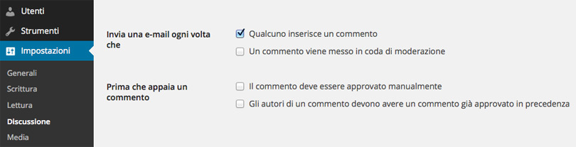 WordPress, notifica ogni commento